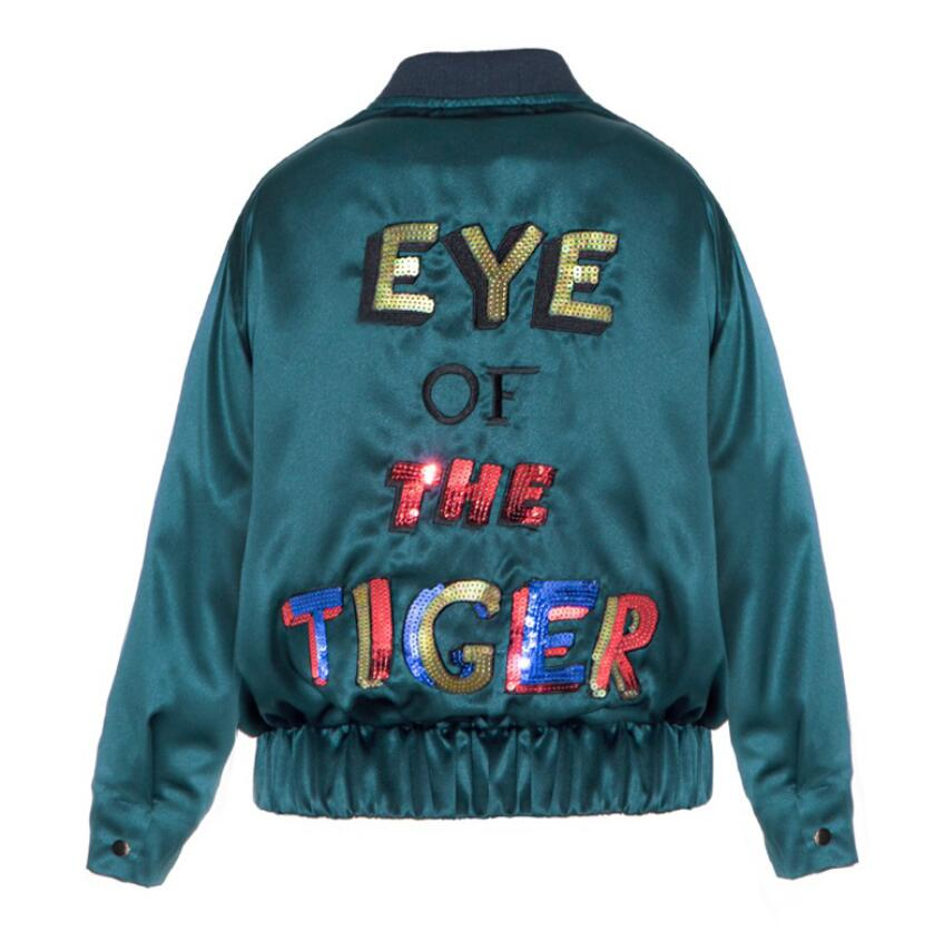 M1139 Runwaylover ladies fashion embroidery sequin paillette causal baseball jacket coat
