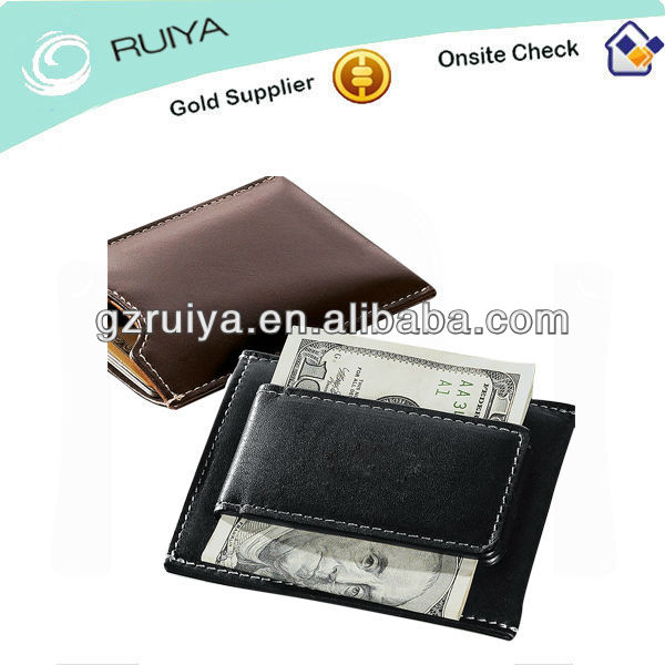 Full-grain Black or Brown Leather Mens Money Clip Wallet with Strong Magnetic Clip Sheath