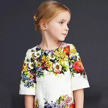 Euro Style One piece Kids Girls Vintage Floral Print 3 4 Sleeve Dress