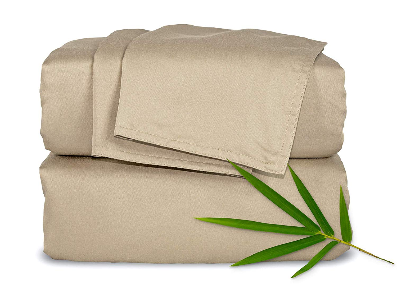 Pure Bamboo Sheets King 4pc Bed Sheet Set - 100% Bamboo Luxuriously Soft Bed Sheets (King, Sand)