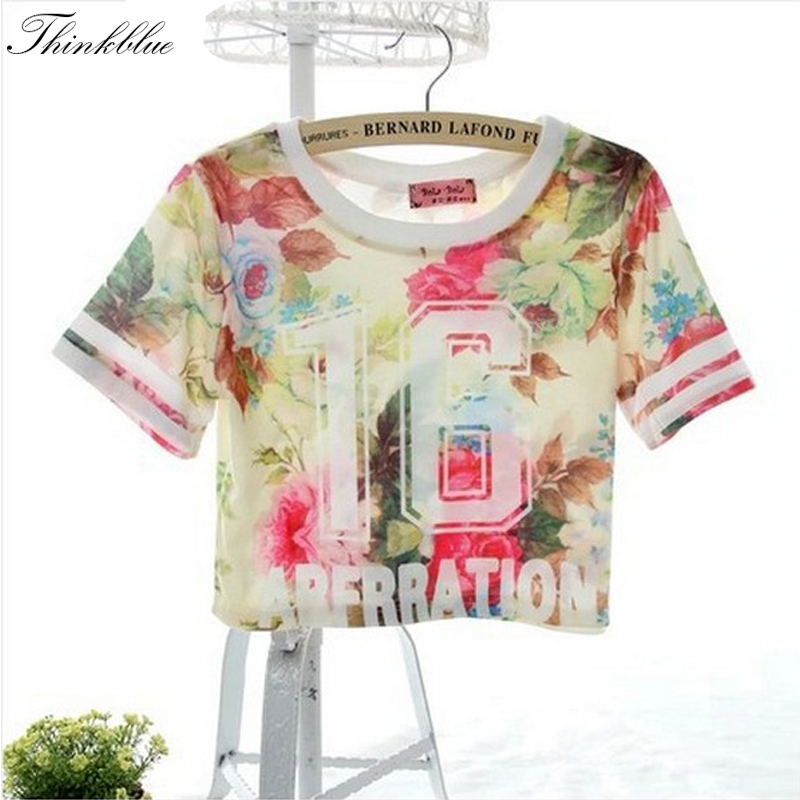 5bec1d7fa2fa4 Hot Sale 3D Floral Print Crop Top Summer Fashion Crop Top Shirts Sexy Rose  Letter Harajuku