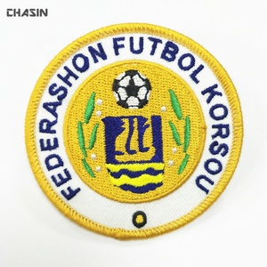 Iron on custom soccer name logo sport fabric patch and badge for uniform clothing