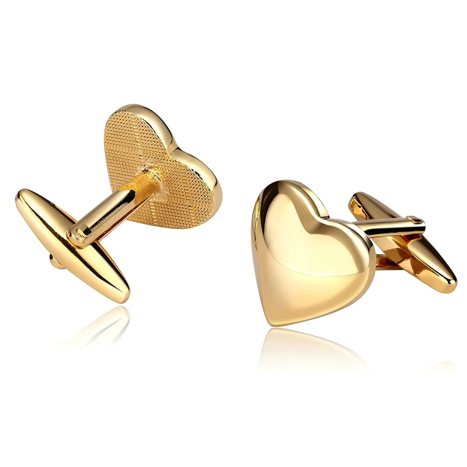 Stainless Steel Mens Cufflinks Love Heart Gold Classic Tuxedo Cufflinks 1.7X1.8CM Dad Unique Jewelry Box Fancy Elegant Aooaz
