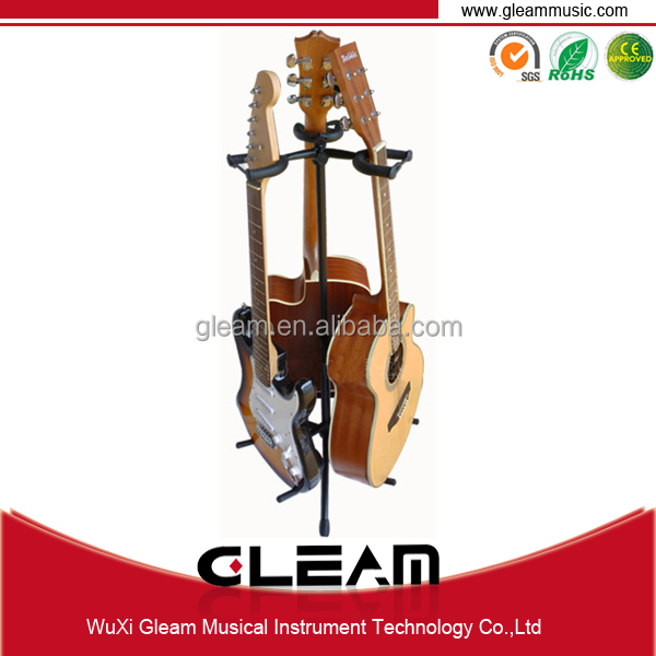 Vertical Factory Produced Guitar Stand With 3 Guitars Put