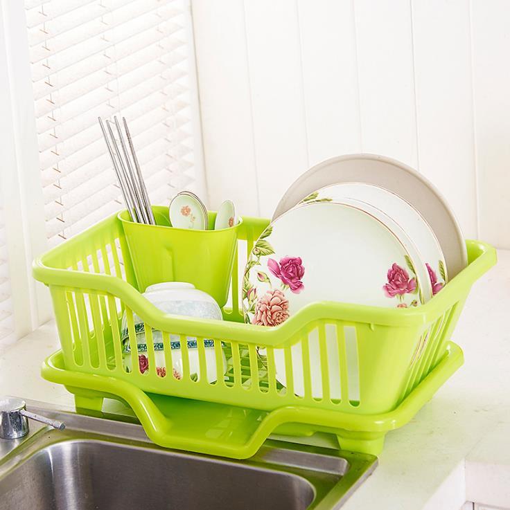 Custom Vegetable Plate Holder Basket  Kitchen Plastic Dish Drainer Rack With Tray