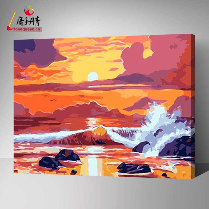 In china Yiwu factory made natural scenery canvas Printing art and customized Digital painting by numbers on Canvas Painting