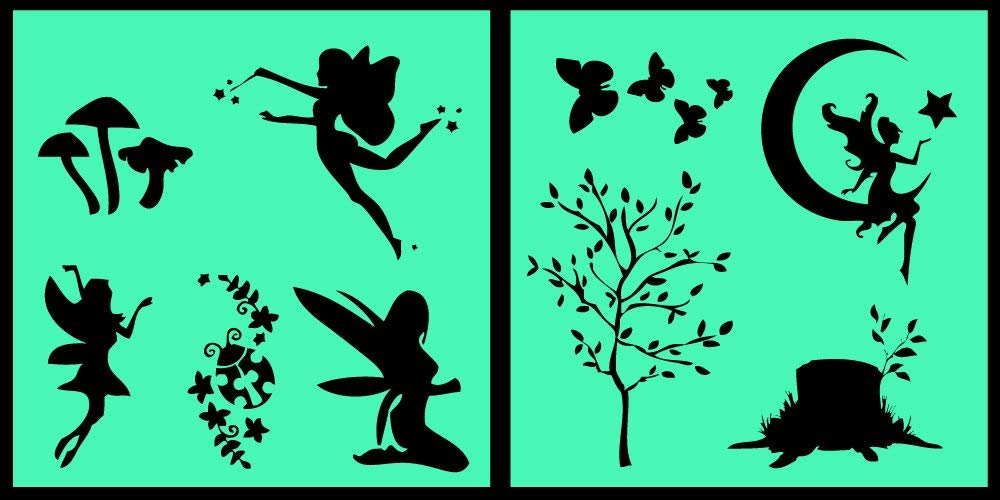 Auto Vynamics - STENCIL-FAERIESET01-10 - Detailed Woodland Fairy / Faerie Stencil Set - Multiple Faeries w/ Trees & Butterflies & More! - 10-by-10-inch Sheets - (2) Piece Kit - Pair of Sheets