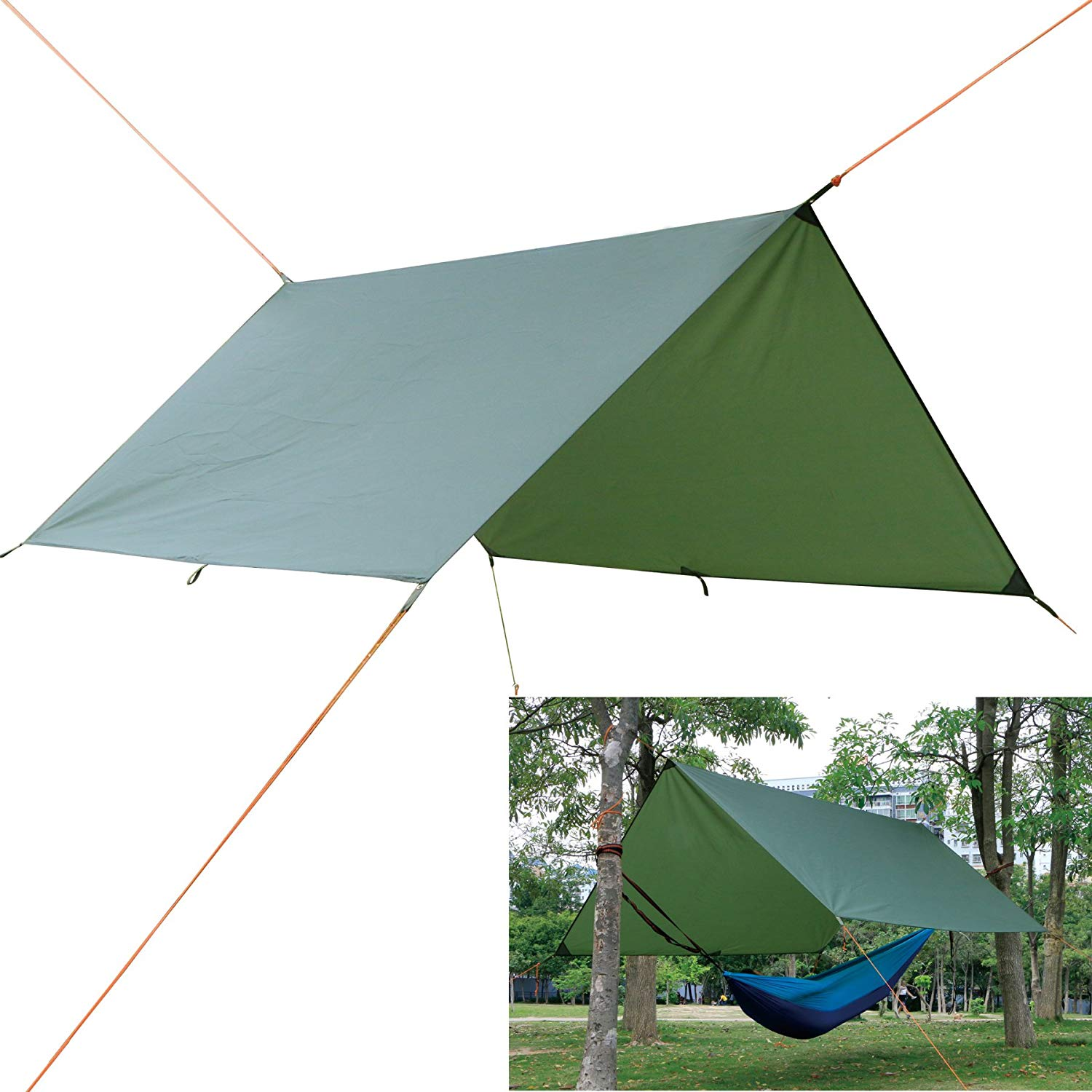 Autfit Hammock Rain Fly Waterproof Tent Tarp for Camping Backpacking and Survival Gear, Lightweight Ripstop Nylon and Aluminium Alloy Stakes