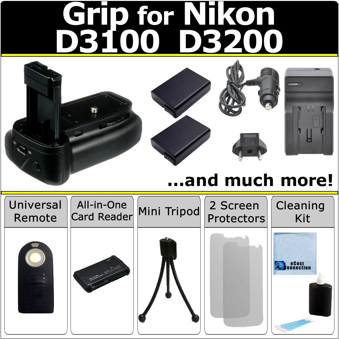 Professional Vertical D3100 D3200 Multi-Purpose Battery Grip for Nikon D3100 D3200 DSLR Camera + 2 EN-EL14 Long Life Batteries + AC/DC Turbo Charger With Travel Adapter + Universal Wireless Remote + All-In-One Card Reader + Complete Deluxe Starter Kit (BG-N9 BGN9)