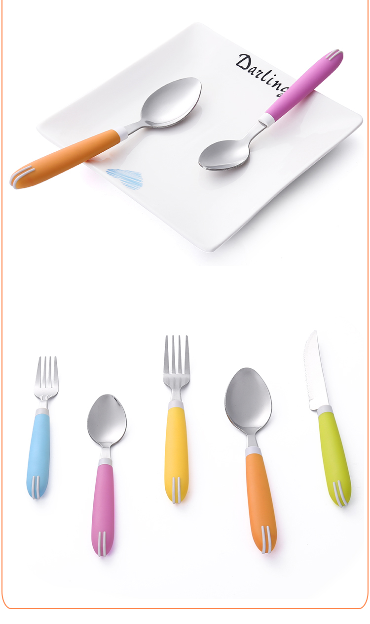 Combine handle Travel Set Plastic Handle Holder Stainless Steel Cutlery