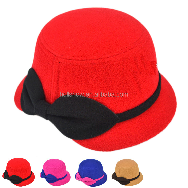 Wholesale Bow Knot Ribbon Tied Children Girl's Autumn Winter Warm Wool Bucket Hat