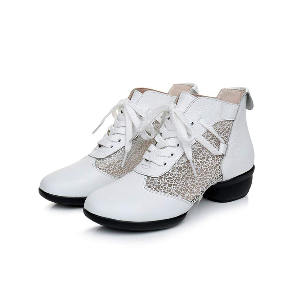 b94dd63aa644 XUEXUE Women s Modern Shoes Ballroom Shoes Shiny Leather Lace-up Shoes Lightweight  Summer Hollow-out Breathable Sneakers Oxford Dance Shoes White