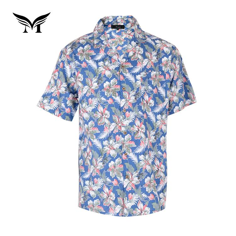 Factory supplier custom fancy bangkok hawaiian printed floral shirts men