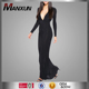 Deep V Neck Maxi Dress Sexy Backless Clothing Design Fascinating Black Elegant to Evening Party Wear