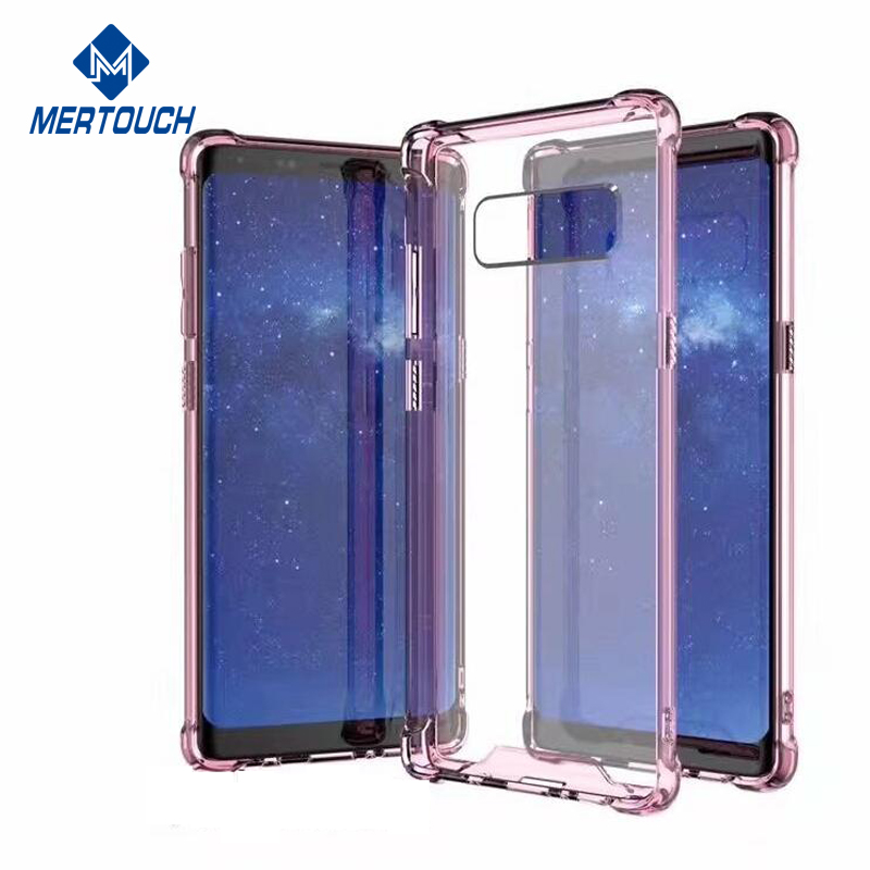 1.55 mm Hard Clear Acrylic Protective Mobile Phone Cover Case for Note 8 Shockproof soft TPU bumper