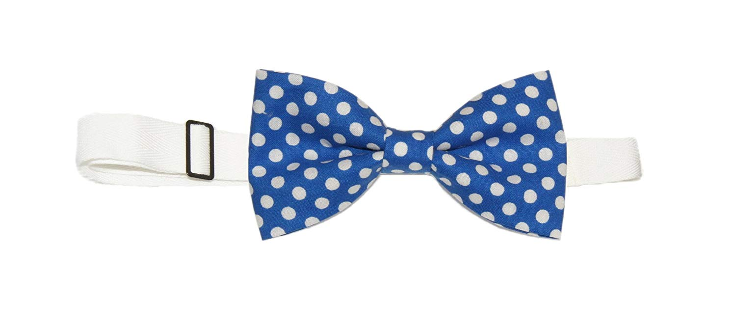 Mens White With Red//Blue Dots Pre-Tied Cotton Bow Tie On Adjustable Twill Strap