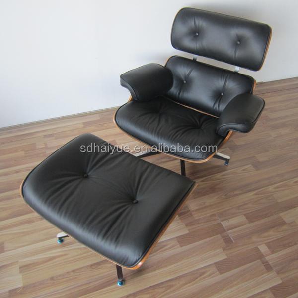 Mitte Des Jahrhunderts Moderne Schwarze Pu Leder SITZBEZUG Sperrholz Sessel  HY2112