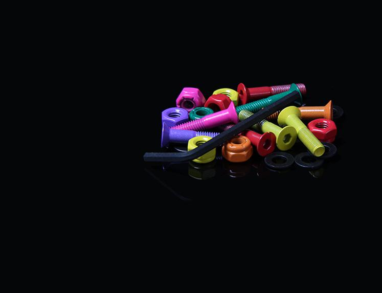 Anodized Colored Allen Head Skateboard Hardware in Various Sizes