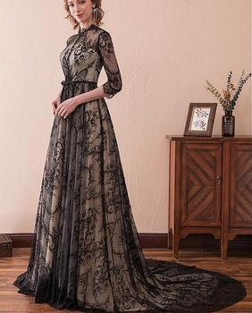 L3156 Long Sleeves Evening Dresses Black Lace Illusion Custom Luxury Party Prom Gowns