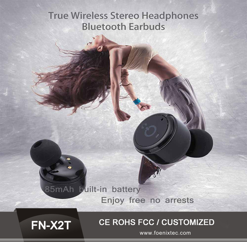 Sweatproof bluetooth csr tws ear phones small mini earbuds X2T for phones