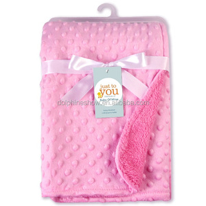Wholesale Cheap Pink minky dot baby blankets for Newborn baby girls