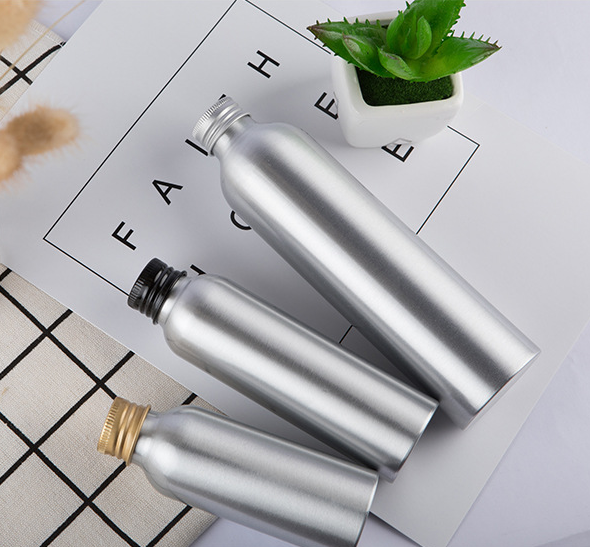 30ml 50ml 100 ml 120ml 150ml 250ml wholesale round shouldered silver aluminum bottle with screw cap