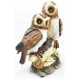 Polyresin hand made gifts and decors great horned tiger owl couple two owls collectibles figurine sculpture