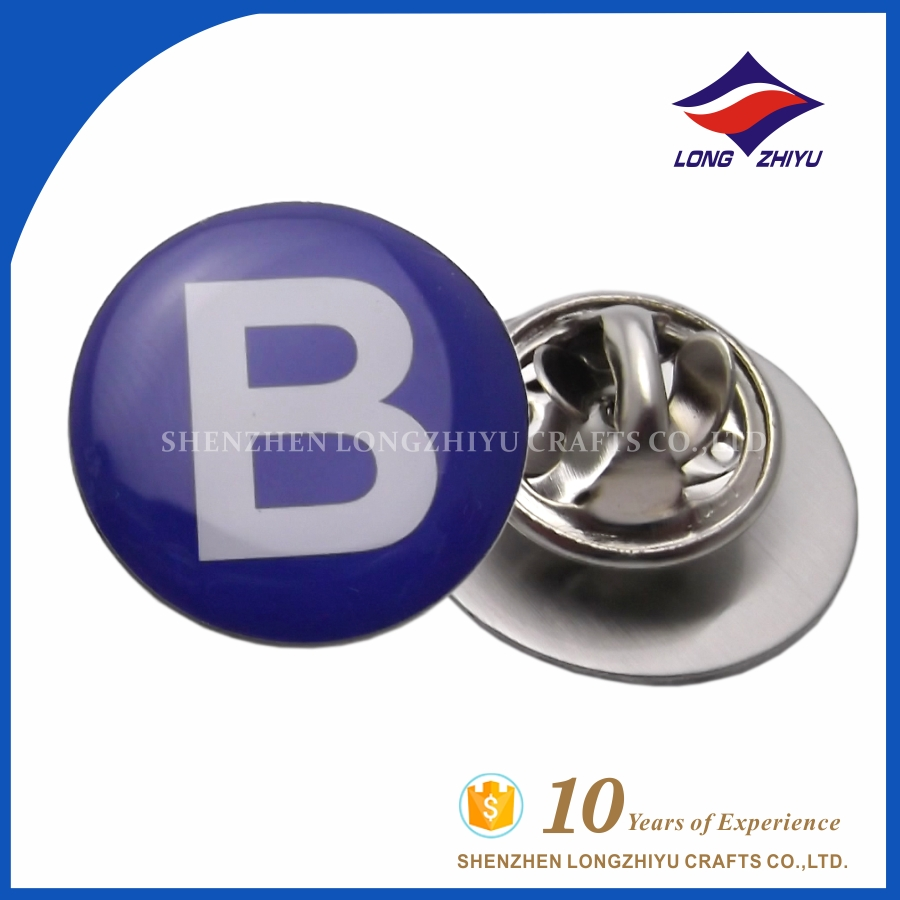 Cheap custom metal alphabet B letter pin badges