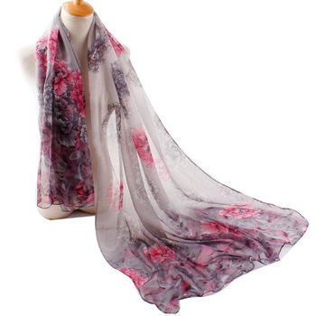 Fashion Scarves Best Selling Styles 90*180cm Flower Printed Lady Viscose Shawl Scarf