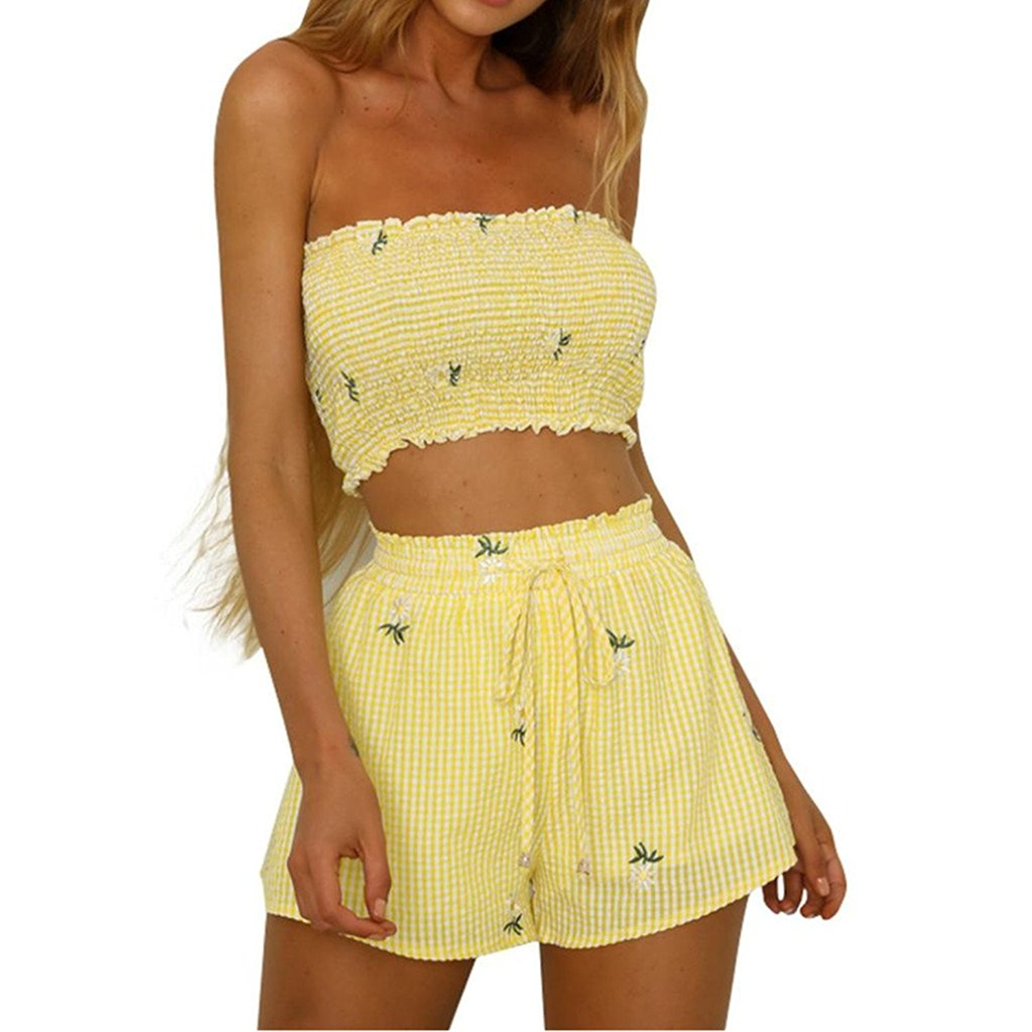 58fbf8363d7fd9 Staron Women Tops and Shorts Two Piece Set Off Shoulder Tank Crop Tops with  Shorts