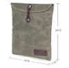 Stylish canvas women and men tablet pouch genuine leather portable laptop sleeve bag for ipad