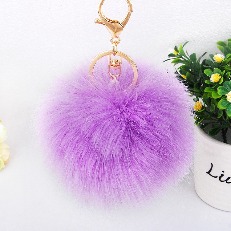Wholesale Royal Blue Pom Pom Fur Leather Tassel Keychain