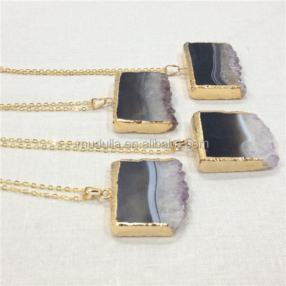 NM10592 Amethyst Druzy Slice Necklace Gold or Silver Plated