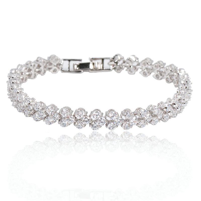 Crystal Fashion Jewelry Charm Women Bracelets 14KT White ...
