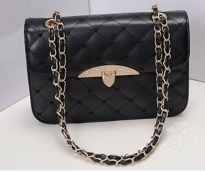 Hot Womens Clutch Chain Strap Handbag Fashion Peach Heart Shoulder Bag Leather Crossbody Korean