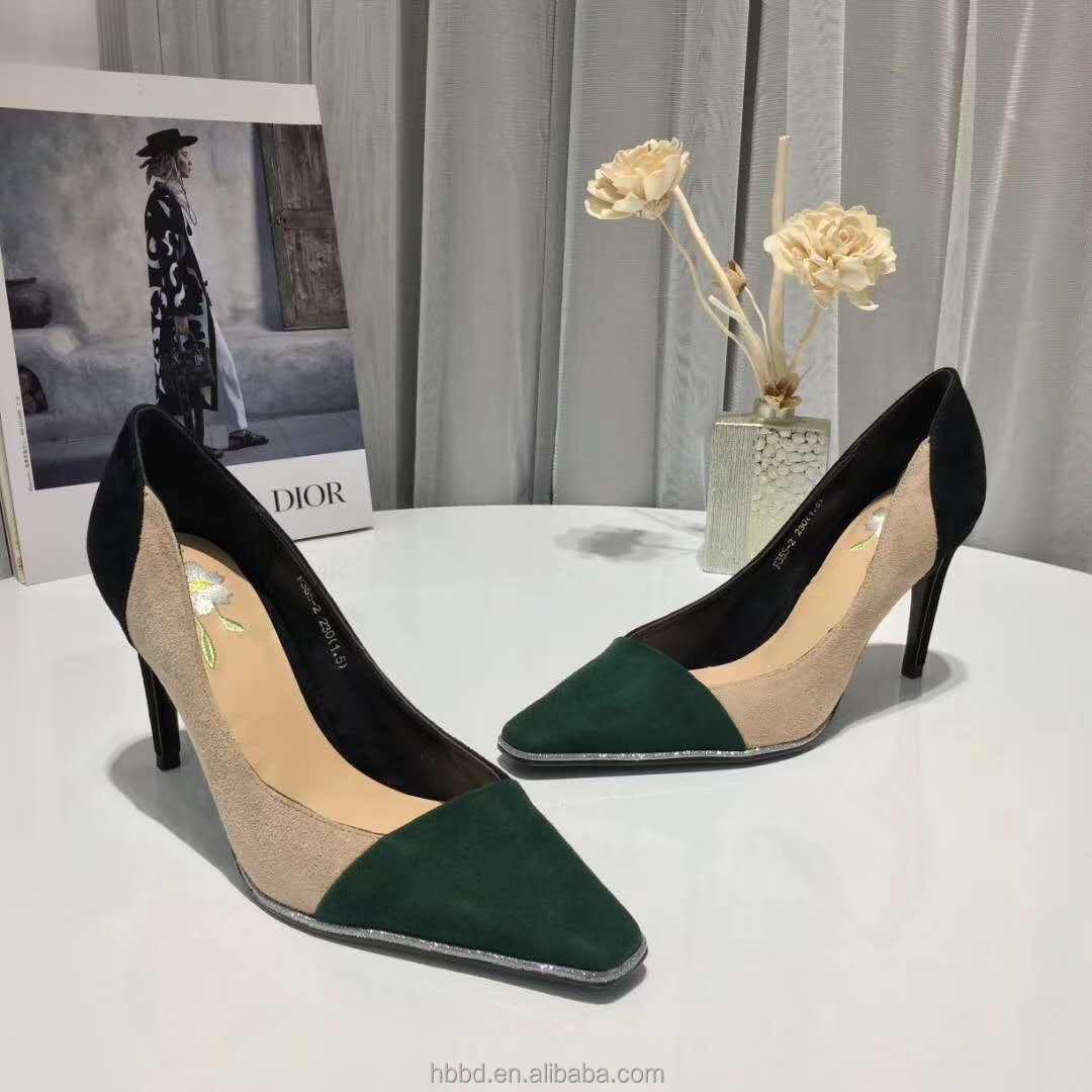 wholesale square assorted shoe color women embroidery suede stiletto toe vintage dress shallow designer mouth patchwork feminine zZxXwrzq1