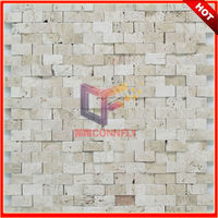 No Gap White Travertine Outdoor Wall Mosaic Tile