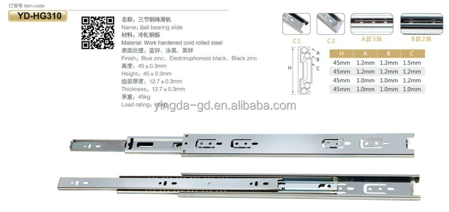 Kitchen Cabinet Drawer Slide Parts Metal Box Drawer Slide