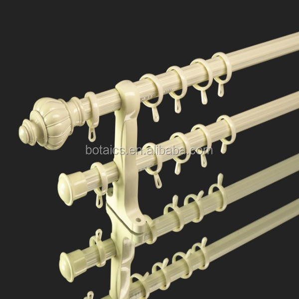 Home Decorative Decorating Curtain Rods White Plastic Finials Wooden