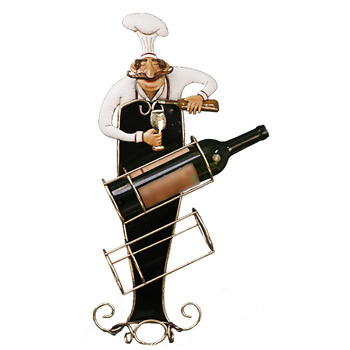Funny metal iron chef wine bottle rack holder