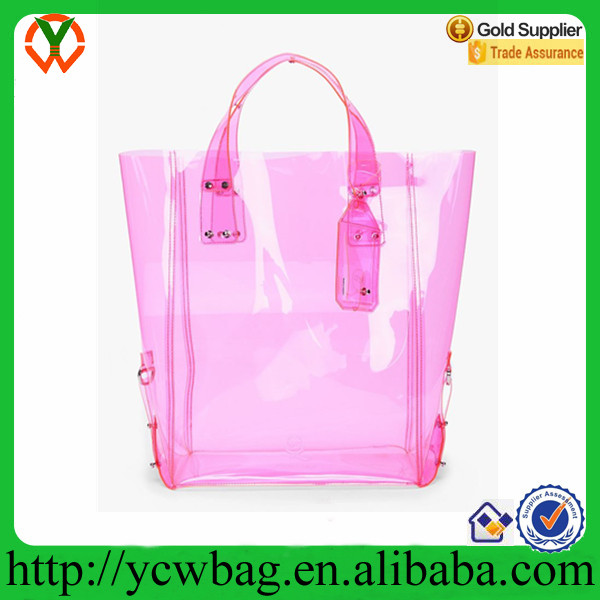 Popular Pink vinyl shopping tote pvc waterproof bag