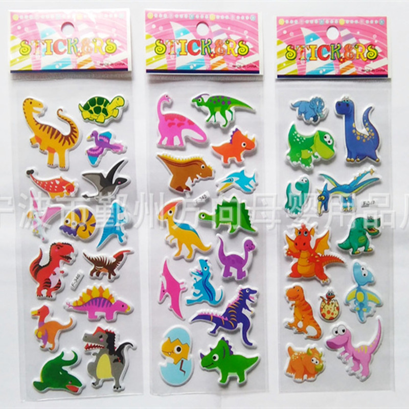3pcs Set 3D New Cartoon Jurassic Dinosaurs Sticker For Notebook Message Funny Creative Toy Children s