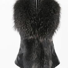 S12049A european new style beautiful ladies kniited mink fur vest with raccoon fur trim /real fur vest