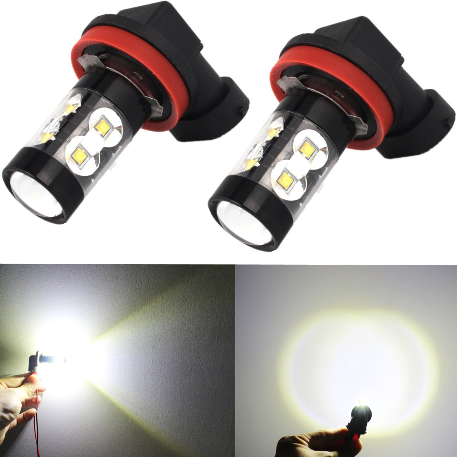Alla Lighting H16 (Type 2) High Power 50W CREE Extremely Super Bright 6000K Xenon White LED Fog Lights Lamps Replacement