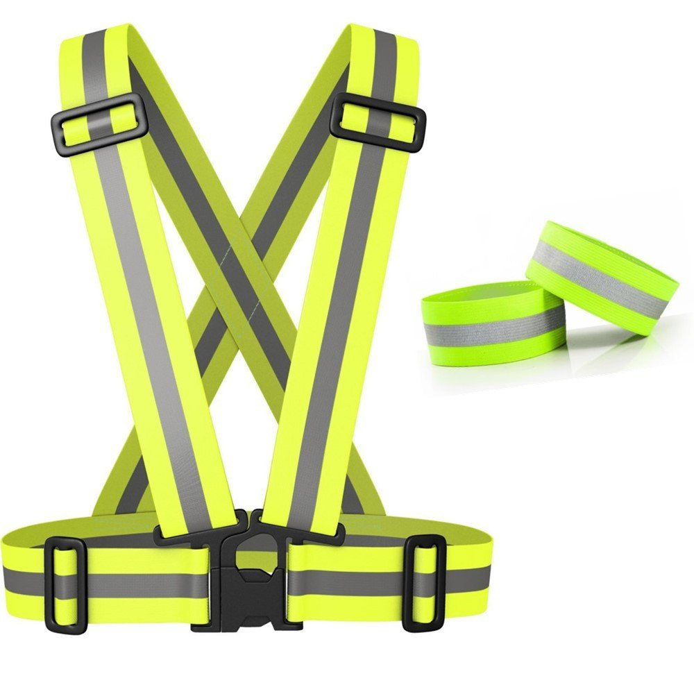98cm Hi Vis Security Safety Vest Night Reflective Vests Suspenders Waist 70cm