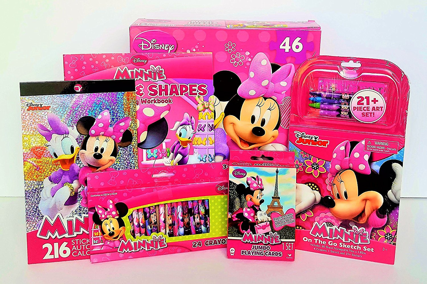 Deluxe Disney Minnie Mouse Educational & Fun Bundle With Minnie Mouse 46 Piece Floor Puzzle!