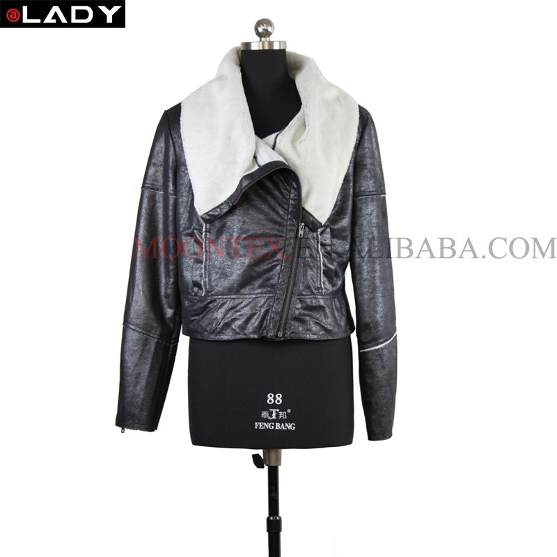 hot sale winter faux fur black suede jacket for women leather 2016