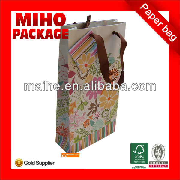 wine carrier paper bag/bottle wine paper bag