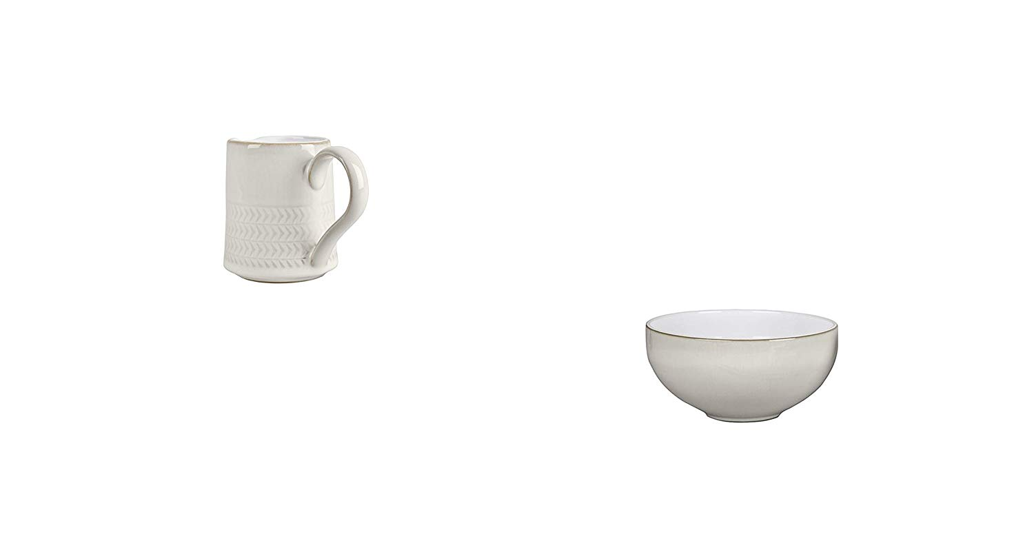 Denby Natural Canvas Textured Small Jug and Ramen/Large Noodle Bowl, Set of 8