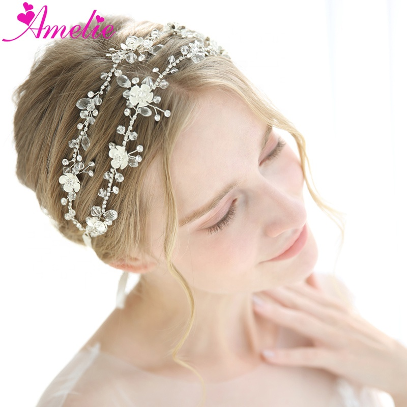 New Headpiece Rhinestone Chain Boho Delicate Crystal Wedding Hair Vine Bridal Headband Jewelry Silver Forehead Band